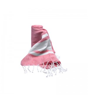 Shower wrap raspberry/white