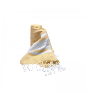 Shower wrap yellow lemon/white